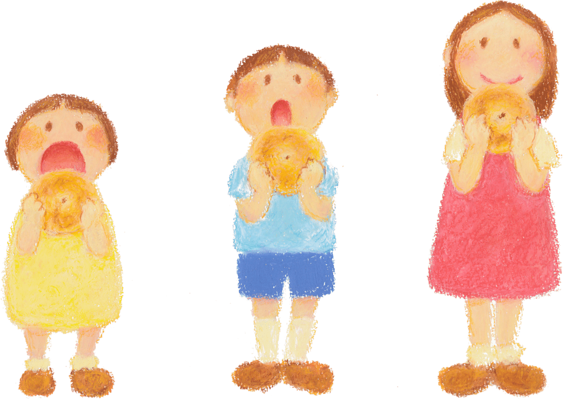 お客さまが描いてた子供のイラスト。3人の子供がベーグル食べています。